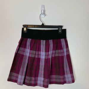 Xhilaration Purple Plaid Elastic Waist Mini Skirt